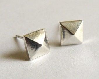 Silver Pyramid Earrings - Small Geometric Stud Earings -  Faceted Everyday Studs - Nickel Free
