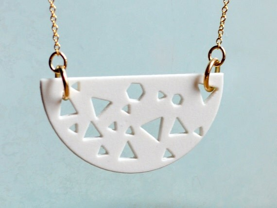 80's Style Porcelain Necklace - Laser Cut Hexagon Triangle - Unglazed Ceramic Jewelry - Gold Chain