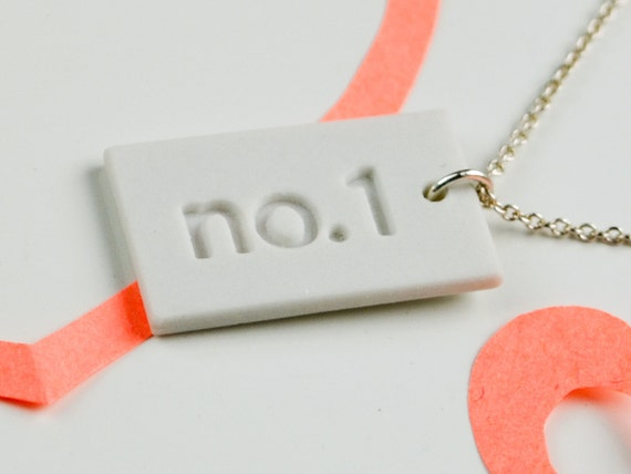 White Porcelain Pendant - Number 1 Necklace - Sterling Silver Chain - Ceramic Charm Necklace