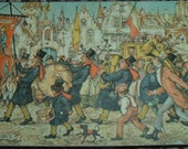 Anton Pieck Miniature Fairy Tale Art Wallhanging Marching Band Celebration