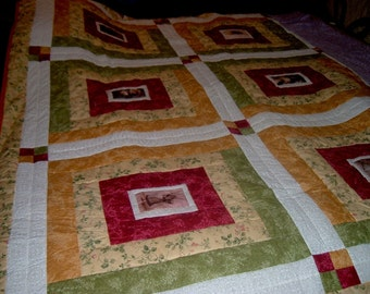 Victorian Photo Floral Quilt -  Queen / King Size
