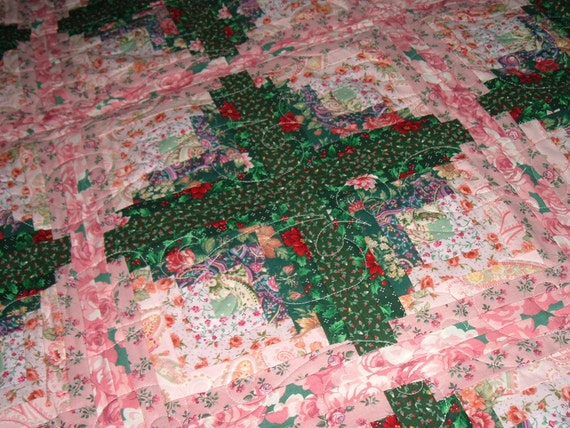 Log Cabin Quilt Coverlet Bedding Full/Queen Floral Pink and Dark Green
