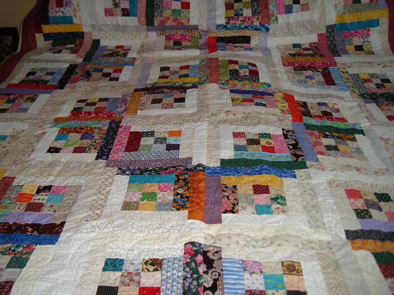 Completa reina tama o patchwork log cabin muchos colores - Hacer una colcha de patchwork ...