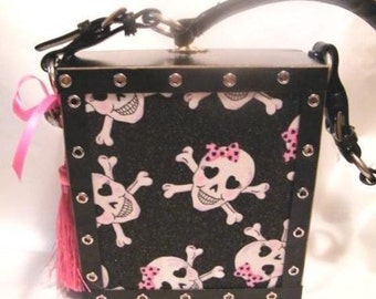 Pirate Pink Girly Gothic Skulls Cigar Box Purse/Made to Order