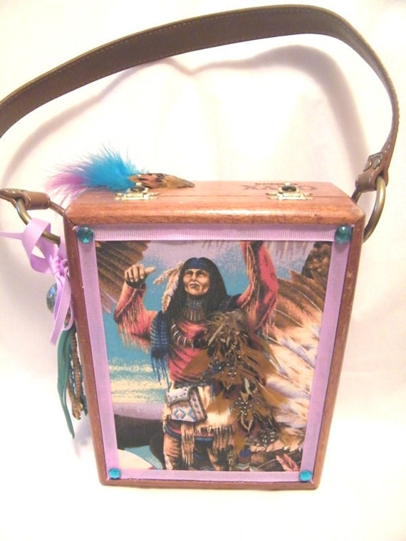 Native American Southwest Theme Indian Chief Feather Cigar Box Purse