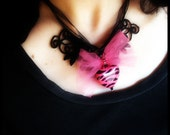 Zebra-print hot pink heart necklace with tulle and Venetian lace