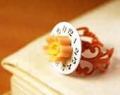 workclock orange flower - ring - steampunk romantic inspiration - time clock peach lovely