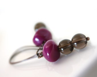 smokey quartz and purple lucite in copper - earrings - lovely casual modern geometrical