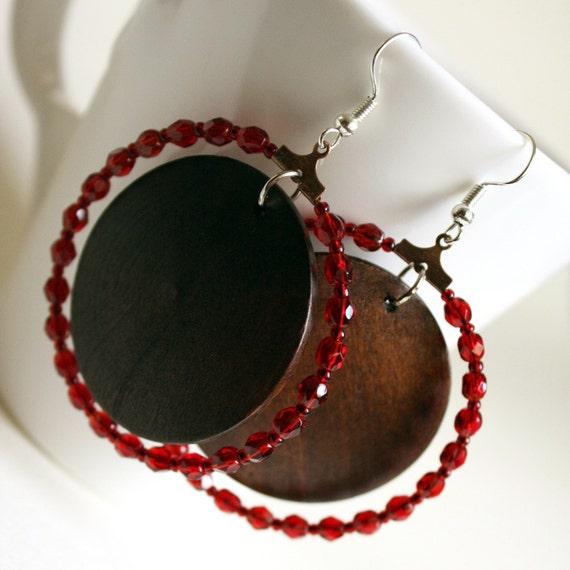wine and wood  earrings - harvest dark brown and bordeaux red hoop crystal casual shining rustic
