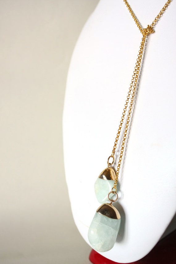 light aqua quartz lariat necklace in gold - casual with nuggets natural gemstone - golden boho style