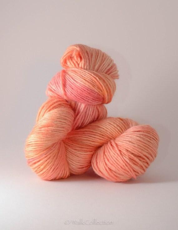 reserved listing no. 0204 - SALMON ... Merino / Baby-Alpaca / Silk, hand-dyed DK-weight yarn