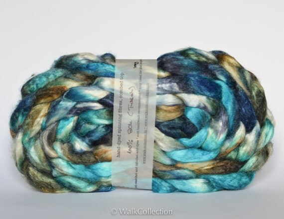 hand-dyed spinning fibers - tussah silk combed top, 105g / 3.7 oz