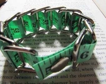Measure Tape Bracelet - Upcycled (Think Green)