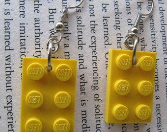 Lego Earring - Yellow - Upcycled
