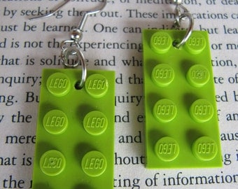 Lego Earring - Green (light) - Upcycled