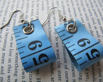 Deep Blue Tape Measure Earrings - Upcycled/Recycled