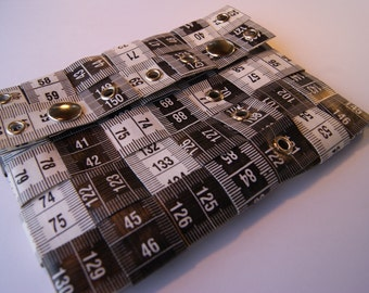 Black & White XL Tape Measure Wallet - Upcycled Vinyl/Metal (Turquoise Cobalt)
