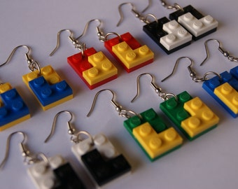 1 Pair of Lego - Blue/Yellow/Red/Green/Black/White - Upcycled/Recycled
