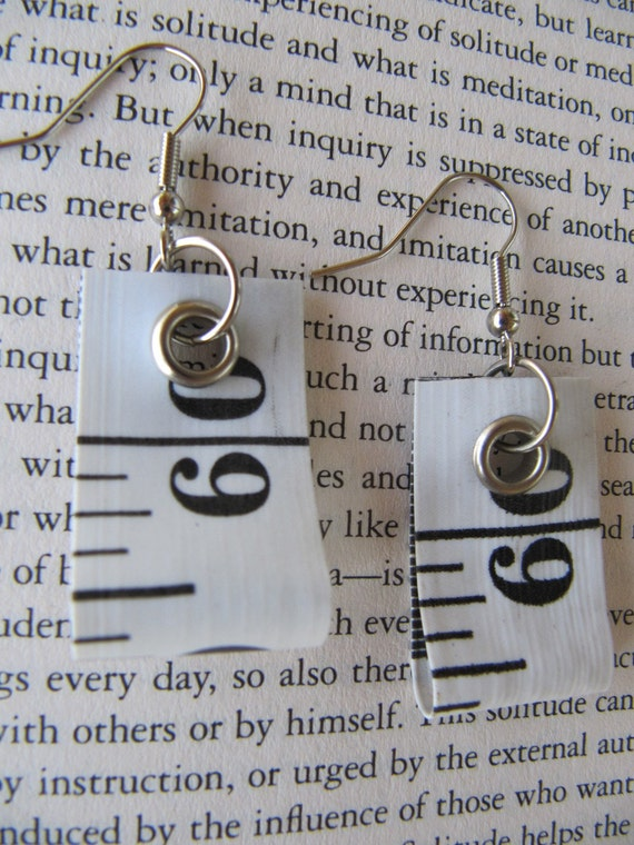 Earring recycled measure tape - White w/ Black