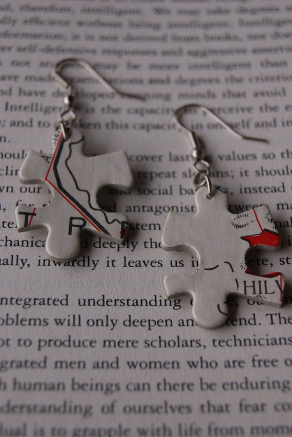 Puzzle Earrings White - Map Holland/Belgium - Recycled/Upcycled