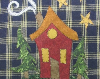 Home Sweet Home Applique PDF Pattern for Tea Towel