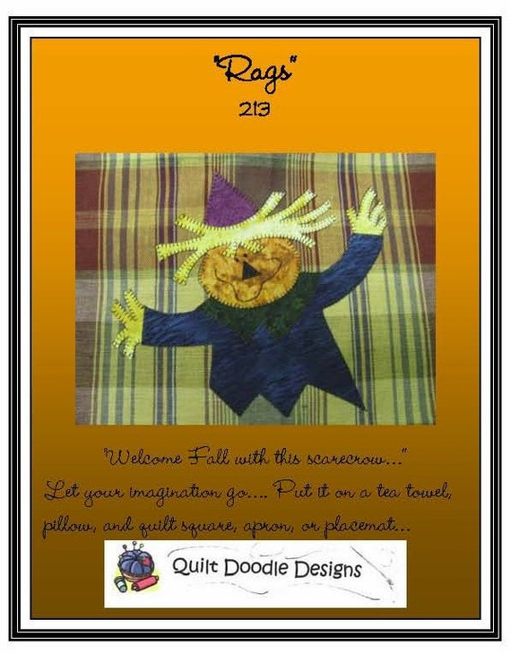 Rags the Scarecrow  Applique Pattern by Quilt Doodle Designs