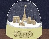 Paris snow globe print