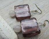 Rose infused glass earrings with pink Jade and clear crystal beads.