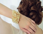Beaded memory wire bracelet, coil bracelet in Jade, sunstone and Miyuki beads- 5 times wrap