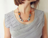 Beaded leather necklace - Greek Mykonos beads and coral leather