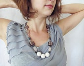 Contemporary necklace, white sea fossil and pink quartz with Mexican agate and hematite