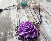 Floral Pendant Necklace with vintage beads and gunmetal chain