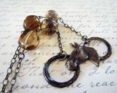 Horse necklace - Equestrian Lovers necklace with lampwork beads and vintage czech glass