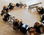 Animal print bracelet - lampwork beads and Swarovski crystal beaded bracelet