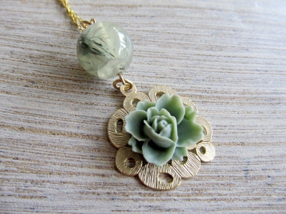 Pendant flower necklace- sage green rose and quartz bead on gold bubble with chain