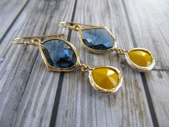 Gorgeous sapphire blue and mustard yellow crystal dangle earrings on gold filled ear wires Black Friday Cyber Monday