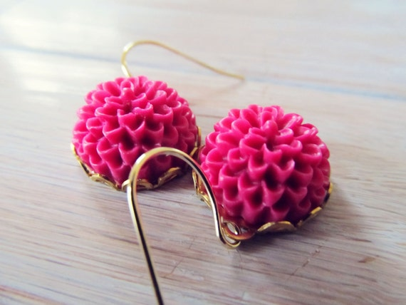 Fuchsia blooms- hot pink floral earrings