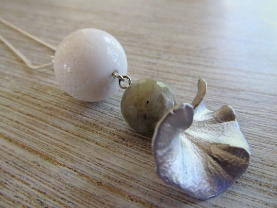 Silver gingko leaf pendant necklace with labradorite and white sea fossil pendant on sterling silver snake chain