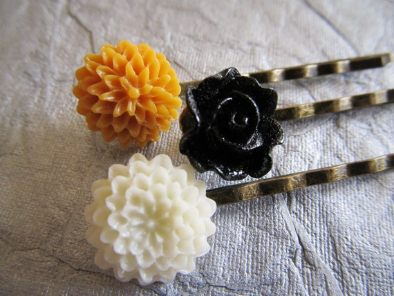 Shabby chic inspired hair pins in cream, black and deep mustard