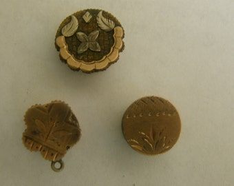 Victorian cuff buttons - 3 singles in rose gold, yellow, gold and silver