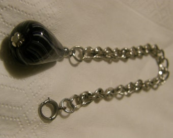 Vintage silver chain and blown glass charm