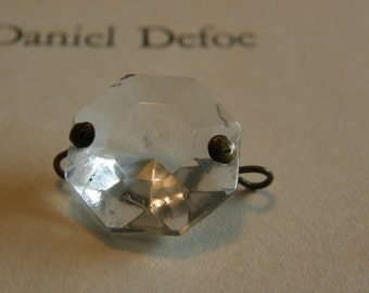 Vintage clear glass diamond cut connector