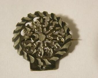 Vintage silver brooch with connector hole - unusual design