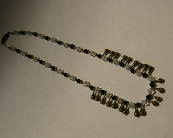 Vintage beaded choker necklace - black, white and brass