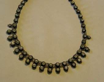 Vintage rhinestone button choker from the late 1940's or 1950's for repair or re-purpose