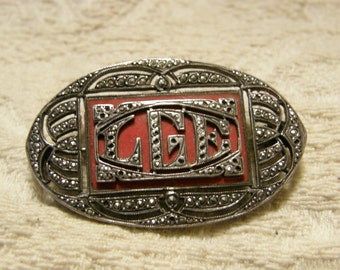 Vintage 1920's marcasite and red enamel monogram brooch - LGE