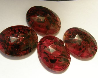 Vintage French oval marbelized red faceted glass beads for re-purpose