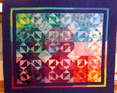 Stars That Sparkle Quilt --Rainbow Colored and Hand Beaded