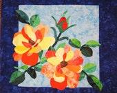 Quilted Wall Hanging - Orange Blush Roses