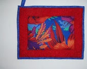 Oversized  Quilted Pot Holder / Hot Pad -- Red and Orange Tropical Flower with Red Borders